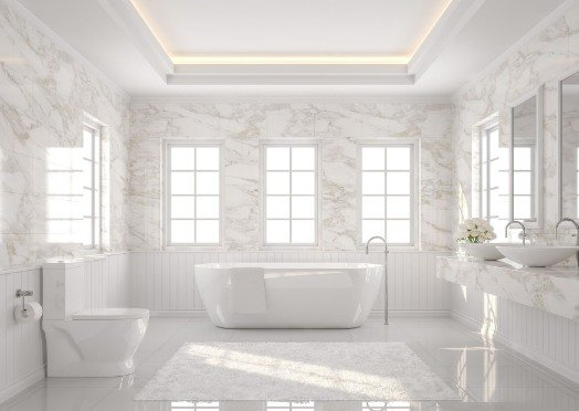 tiling in a white and bright bathroom at Preston Tilers